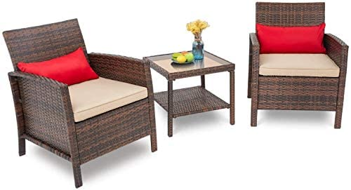 SOLAURA Patio Outdoor 3-Piece Furniture Set Brown Wicker Sofa