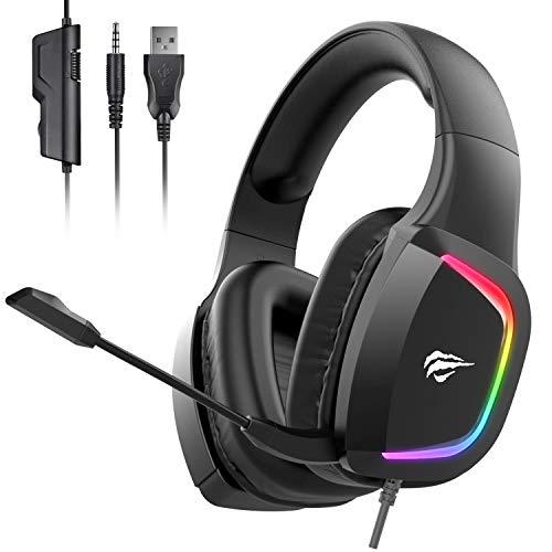 🥇 havit Auriculares Gaming PS4 Cascos Gaming con micrófono con reducción de Ruido Iluminación RGB Sonido Envolvente