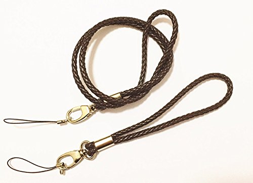 Durable PU Braided Lanyards Leather Necklace Wrist Hand Straps Premium Quality Neck Lanyards Keychain Charms (1 long and 1 short) For Camera  Cell Ph…