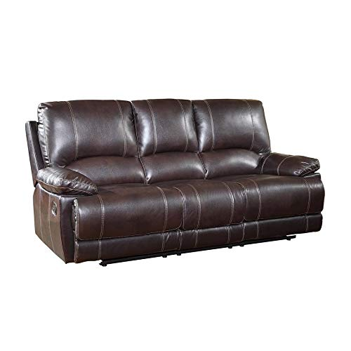 (Blackjack Furniture 9345-BROWN-S The Brantley Collection Leather Sofa for the Living Room, Brown)