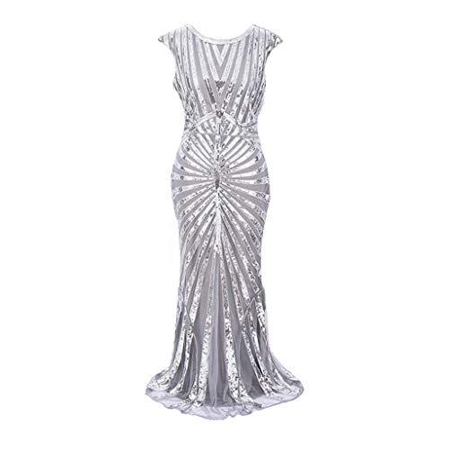Women Vintage 1920s Inspired Bead Fringe Sequin Embellished Long Gatsby Flapper Dress -