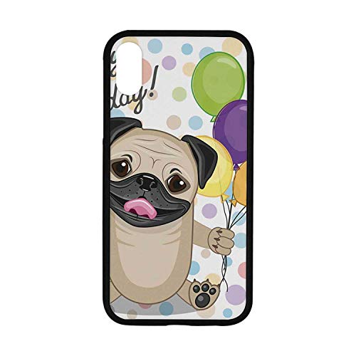 Birthday Decorations for Kids Rubber Phone Case,Animal Cute Dog Smiling Pug with Party Balloons Greeting Card Compatible with iPhone XR
