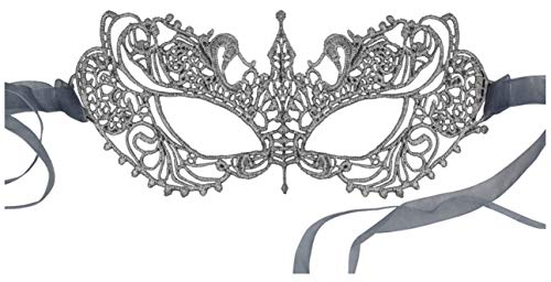 Luxury Mask Women's Stunning All Silver Lace Masquerade Mask Ana