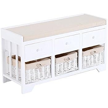 HomCom 3 Drawer 3 Basket Padded Storage Bench   White/Beige