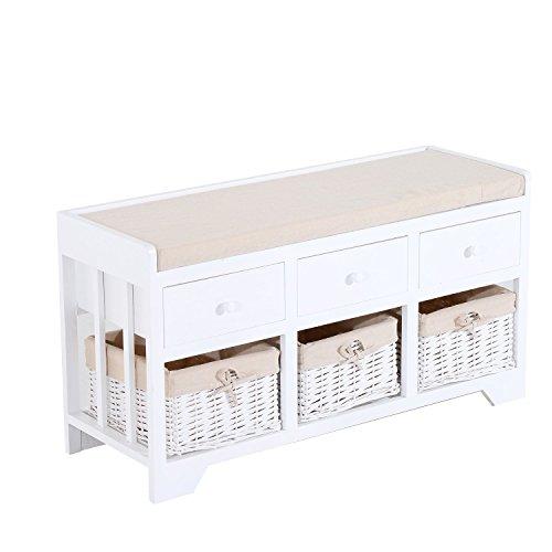Bedroom Wicker Bench - HOMCOM 3-Drawer 3-Basket Padded Storage Bench - White/Beige