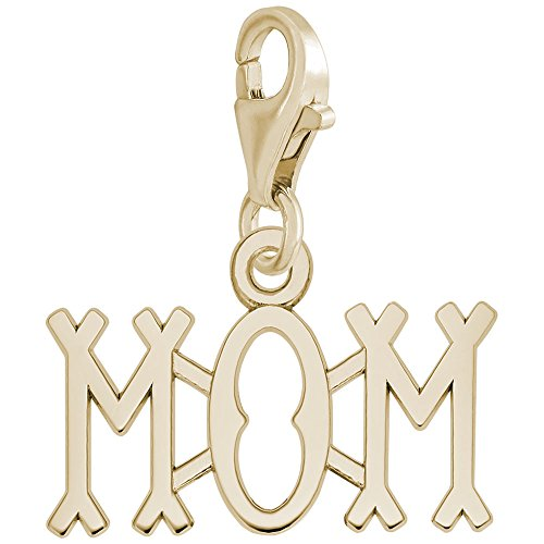 14K Yellow Gold Mom Charm With Lobster Claw Clasp, Charms for Bracelets and - Charm Gold Mom Yellow 14k