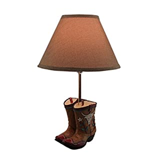 Resin Table Lamps Rustic Southwest Cowboy Boots Desk Lamp With Burlap Shade  12 X 18.5 X