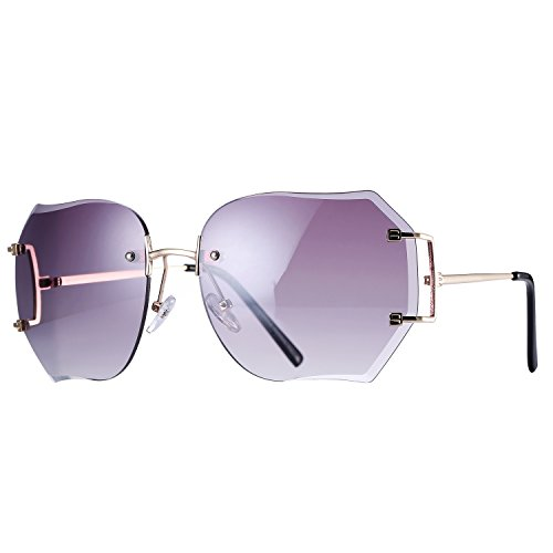 Pro Acme Fashion Oversized Rimless Sunglasses Women Clear Lens Available - Frames Glasses Innovative