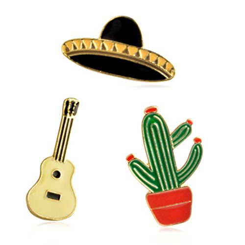 Kingbell 3PCS Women Girls Brooch Black Hat Golden Guitar Potting Plant