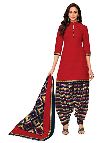 Miraan Women Cotton Unstitched Dress Material (SGPRI746, Red, Free Size)