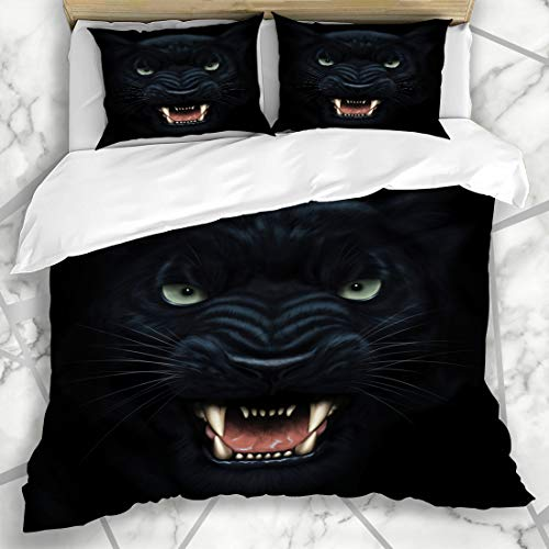 Ahawoso Duvet Cover Sets Queen/Full 90x90 Scary Black Angry Panther Face Darkness Digital Danger Painting Beast Wildcat Cat Furious Head Cougar Microfiber Bedding with 2 Pillow Shams ()