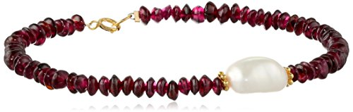 Garnet Rondelle with White Baroque Freshwater Cultured Pearl Center and Gold over Silver Clasp Bracelet, 7.5