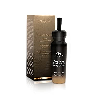 Simon & Tom Pure Hydra Swiss Hyaluronic Acid Serum for Face, Eyes, Neck and Decolletage with Vitamin C + Argan Stem Cells 30ml/1.01 fl oz