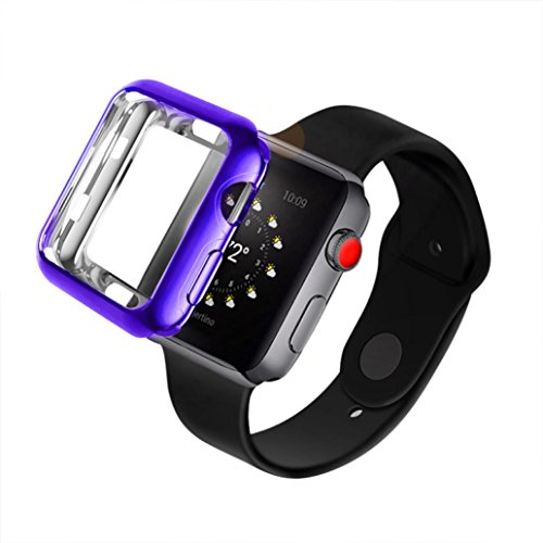 Apple Watch 3 Case, Ultra-Thin Soft Full Coverage Case for Iwatch Series 3 (38mm) Screen Protector (Crystal Purple)