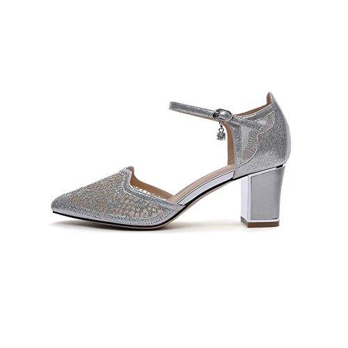 Áspero Del CN Y Zapatos Color DALL EU Primavera 39 Cabeza tacón UK6 Ly Zapatos Mujer Tacones de De 7cm 661 Tamaño 39 Verano Zapato De Pink La Apuntado Plata Sandalias Talón Alto fvn7fwqT