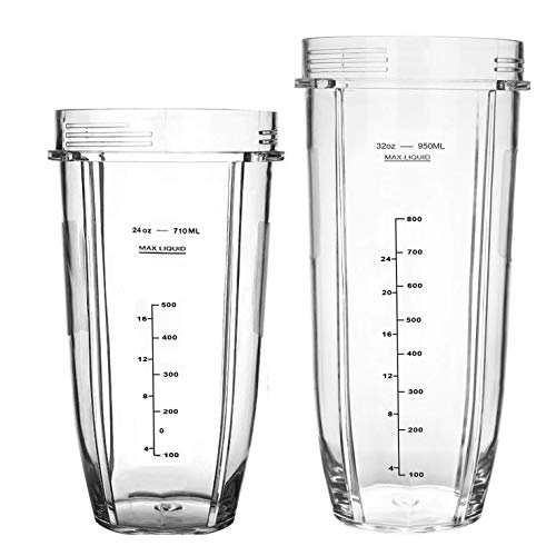 24 oz Blender Cup with 32 oz Replacement Cups for Nutri Ninja Auto iQ 1000w,Blender Replacement Parts for Nutri Ninja BL480-30 BL482-30 BL682 BL640