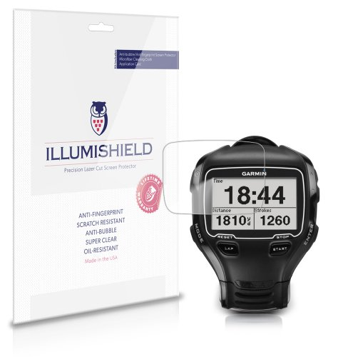 iLLumiShield Screen Protector Compatible with Garmin Forerunner 910XT (3-Pack) Clear HD Shield Anti-Bubble and Anti-Fingerprint PET Film