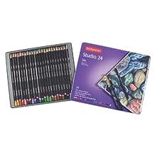Derwent Studio Colored Pencils, 3.4mm Core, Metal Tin, 24 Count (32197) by Derwent