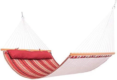 Lazy Daze Hammocks Quilted Fabric Hammock Double Sided Hammock Swing w/Spreader Bar and Pillow