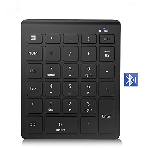 Elecstars Folding Bluetooth Keyboard with Touchpad, Aluminum Alloy Housing, Carrying Pouch,for iOS Windows Android Tablets, Smartphones, Laptops, PC and MoreElecstars Bluetooth Wireless Number Pad, U
