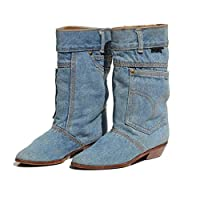 Hoxekle Women Low Heel Casual Mid Calf Boots Ladies Jeans Slip On Boots Pointed Toe Cowboy Flat Boots Blue