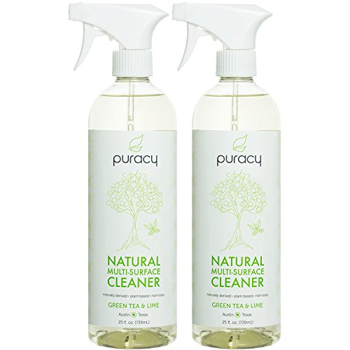 Puracy Natural All Purpose Cleaner, Best Household Multi-Surface Spray, Streak Free on Glass and Stainless Steel, Child and Pet Safe, Green Tea and Lime, 25 Ounce Bottle, (Pack of 2) (Natural Sparkling Clean)