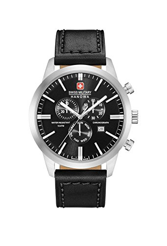 (Swiss Military Mens Chronograph Quartz Watch with Leather Strap 06-4308.04.007 )