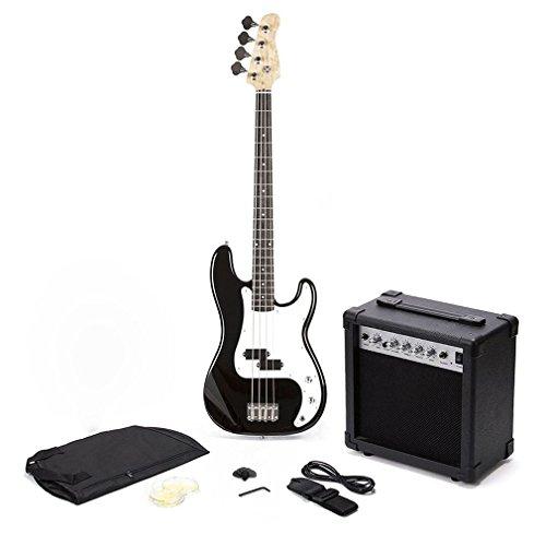 Oypla PB Precision Style Black 4 String Electric Bass Guitar & 15W Amp