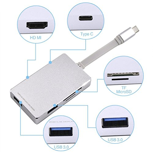 LUJII 6 in 1 USB 3.1 Type C Hub with HDMI 4K Output USB C Hub with Power Delivery for Charging 2 Ports USB 3.0 SD/SDHC Card Reader Micro SD Card Reader for Macbook/ChromeBook Pixel ,Silver by LUJII (Image #1)