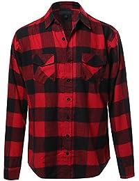 Youstar Men's Flannel Plaid Checkerd Long Sleeve Tshirts Plus Size