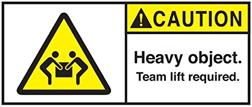 "Caution Heavy Object Team Lift Required Labels, 50 Per Pack (4.5"" x 2"")"