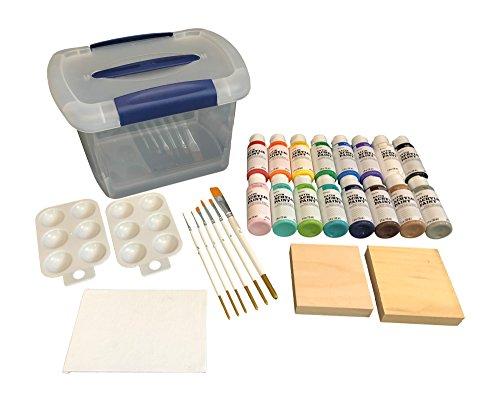 Acrylic Paint Set 28 Piece- 16 Paint Colors, 6 Piece Brush S