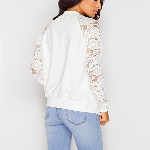 Lady Vintage Short Long Women's Sleeve Mesh Bomber Lace Jacket Patchwork Floral Embroidered Sexy HARRYSTORE White Crop Bomber Coat R0IZw