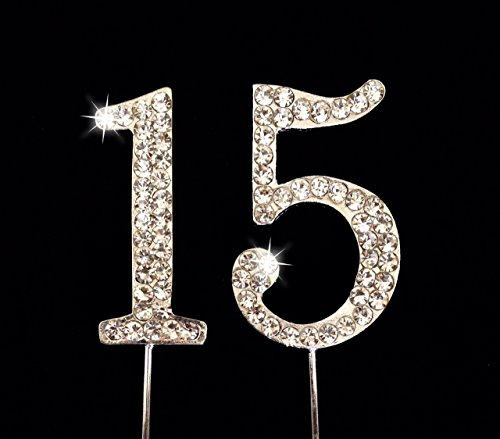 15th Birthday / Wedding Anniversary Number Cake Topper with Sparkling Rhinestone Crystals - -