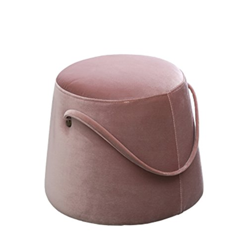 Ottoman Storage Round Suede (HM&DX Ottoman Footstool Pouf,Velvet Tufted Footstool Round Upholstered Footrest Stool Nordic Sofa Stool with Handle-Pink)
