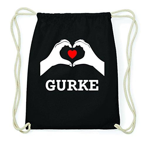 JOllify GURKE Hipster Turnbeutel Tasche Rucksack aus Baumwolle - Farbe: schwarz Design: Hände Herz