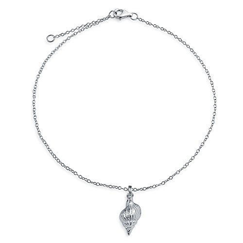 925 Sterling Silver Conch Seashell Nautical Charm Anklet 9in