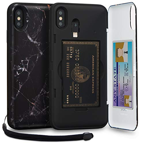 TORU CX PRO iPhone Xs Max Wallet Case Pattern with Hidden Credit Card Holder ID Slot Hard Cover, Strap, Mirror & Lightning Adapter for Apple iPhone Xs Max (2018) - Black Marble