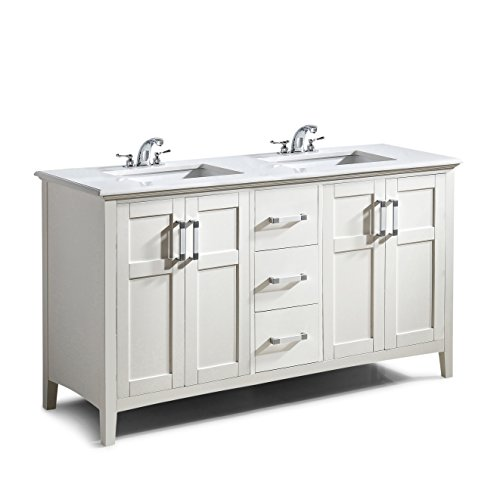 Simpli Home WINSTON-WH-60 Winston 60 inch Contemporary Bath Vanity in Soft White with Bombay White Engineered Quartz Marble Top (Flat Front Vanity)