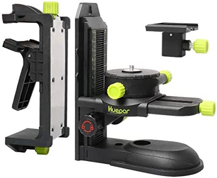 Huepar Fine-tuning Bracket Laser Level Adapter, Multifunctional Magnetic Pivoting Base with Adjustable Clip, 360 Adjustable Support with 1 4 -20 Male Threaded, Height Adjustment – PV10