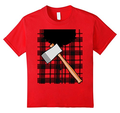 Lumberjack Costume Girl (Kids Lumberjack Costume Tee Shirt with beard and ax 8 Red)