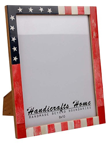 USA American Flag Picture Photo Frame Souvenirs Handmade Naturals Bone Frames from Handicrafts Home For Photo Size 4X6 & 5x7 Inches (8x10)