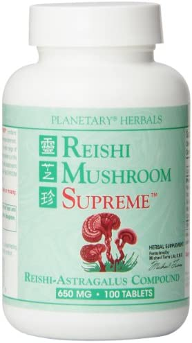 Planetary Herbals Reishi Mushroom Supreme Tablets, 650 mg, 100 Count