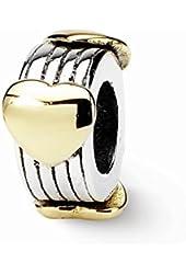 Sterling Silver & 14k Heart Charm Bead Fits Pandora Chamilia Biagi Bracelet