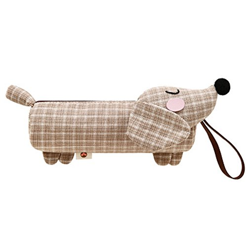 ee-Color Patch Dachshund Dog Bag Cute Male and Female Students Stationery Bag. ()