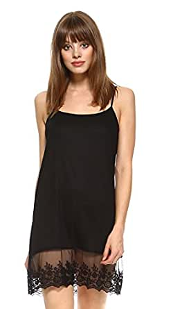Melody [Shop Lev] Womens Solid Knit lace full slip dress extender with adjustable straps (Black, Medium)