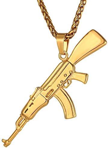 U7 Armee Gewehr Kette M16/AK-47/Mini Uzi/M9 Maschinengewehr Modell Anhänger Halskette personalisiert Pistole Waffe Coole Modeschmuck Geschenk für Männer Jungen
