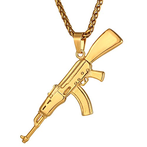 U7 Men Cool AK47 Rifle Shape Pendant & Chain 18K Gold Plated Rock Army Style Personalized Necklace Jewelry,Chain 22