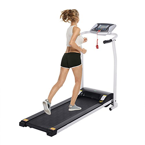 Hindom Foldable Treadmill, Portable Electric Motorized Running Machine for Home Office Fitness, White (US STOCK)