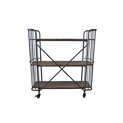 Herrera 41.73'' Bookcase in Dark Gray with Casters, Shaped Tubular Steel Frame And Three Solid Wood Shelves, by Artum Hill by Artum Hill (Image #6)